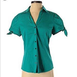 Express Tops - Express Design Studio fitted button up shirt teal